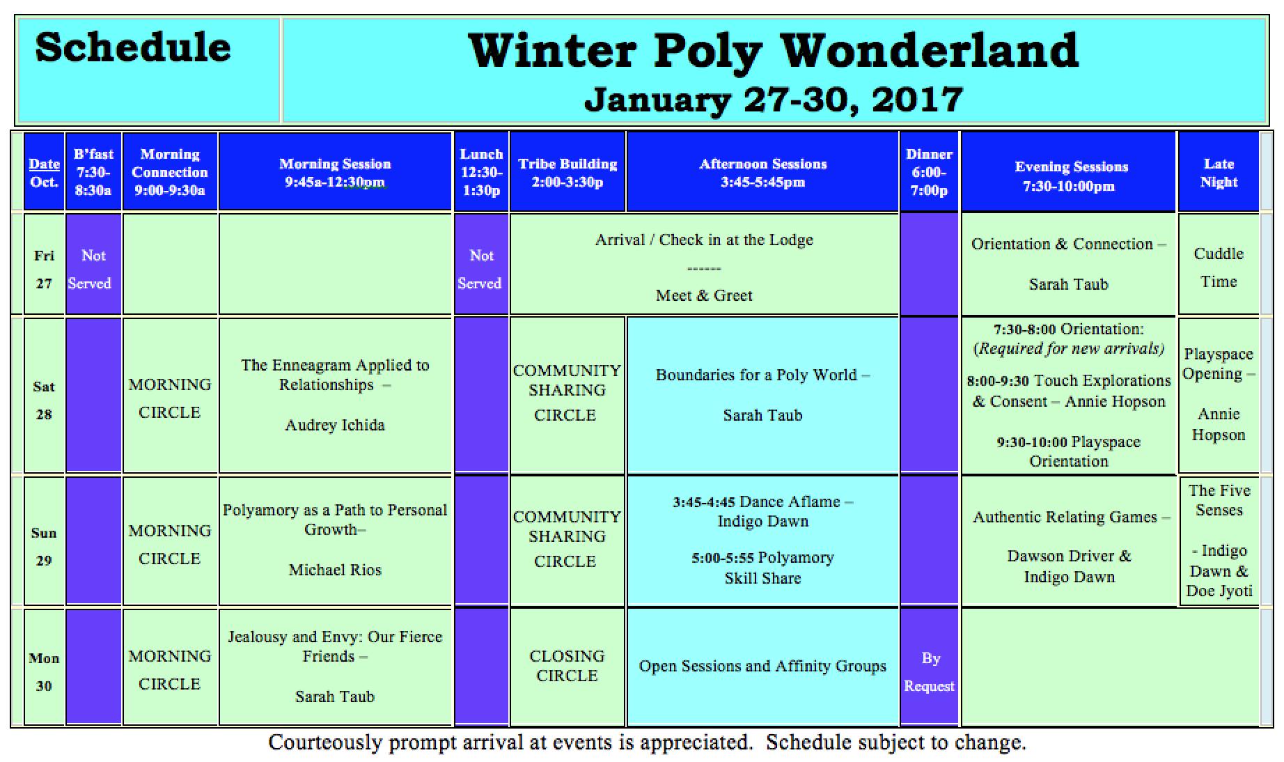 WPW Schedule '17